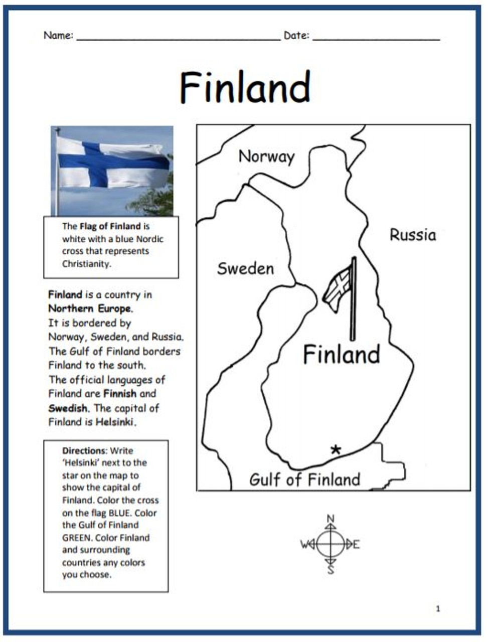 Color and Learn Geography - Finland