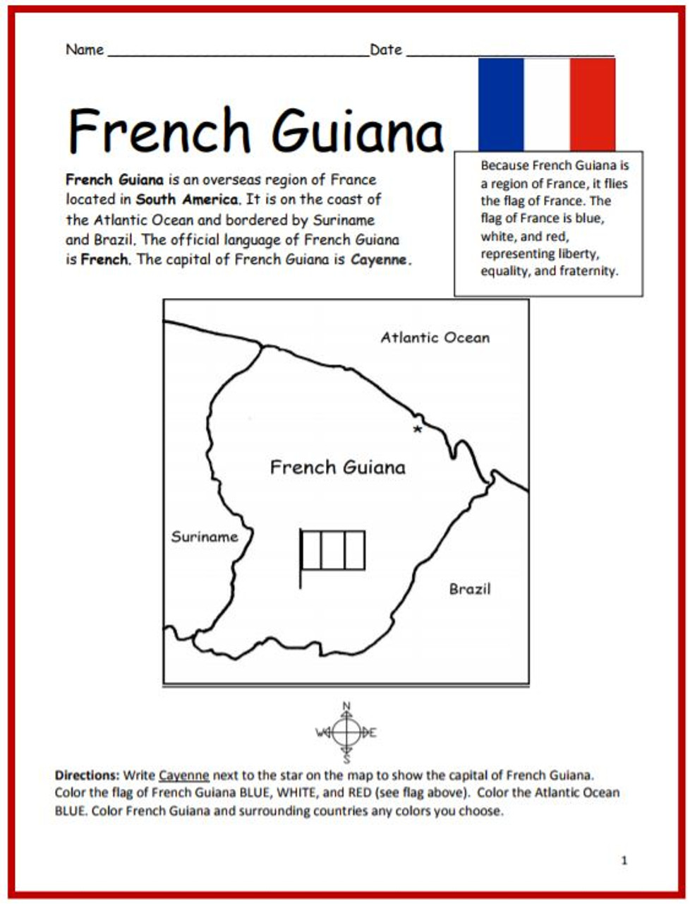 Color and Learn Geography - French Guiana