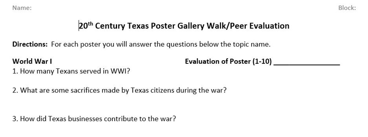 Texas History - 20th Century Project and Gallery Walk
