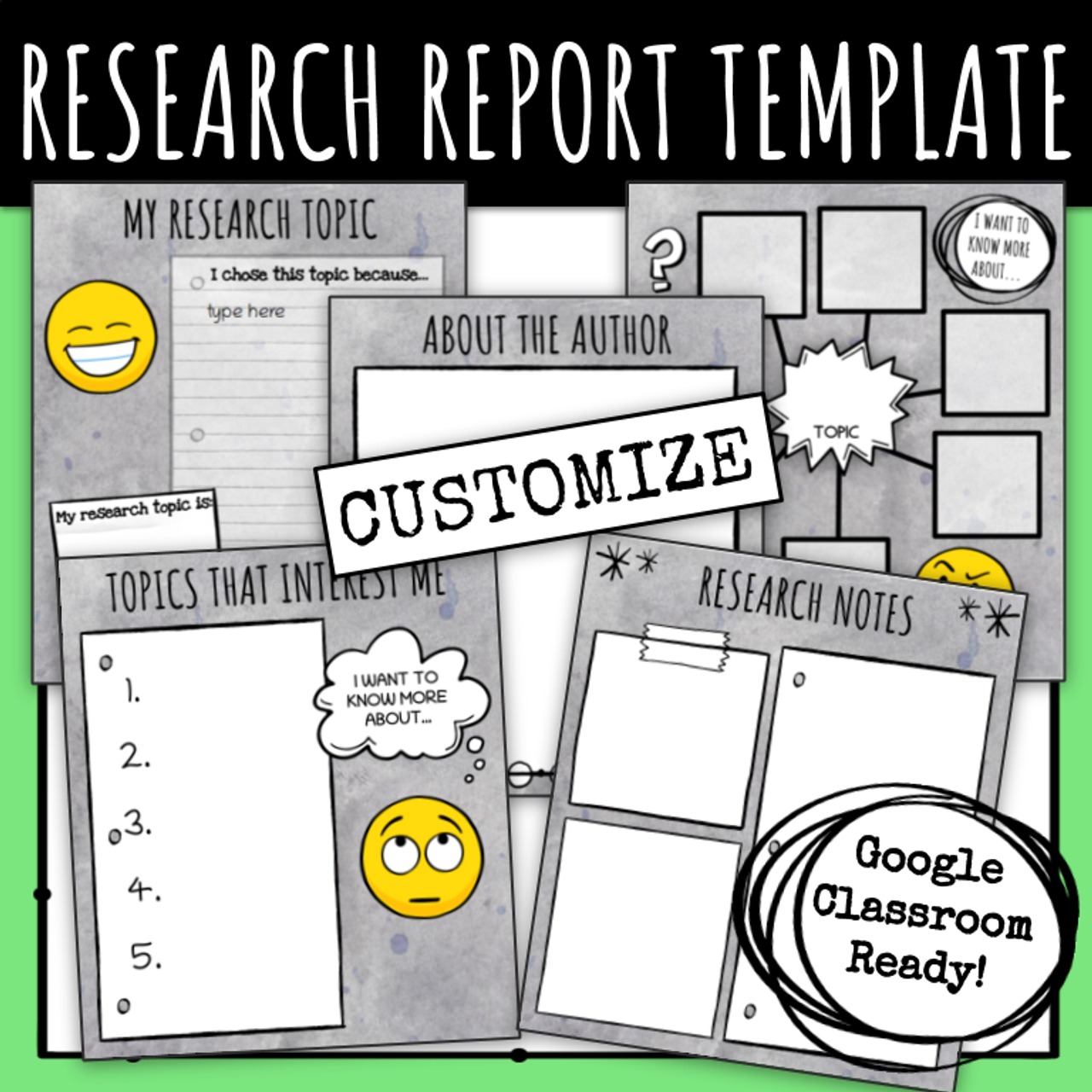Research Report Template - Emoji Themed (Google Slides)