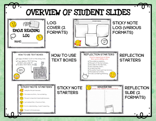 Digital Reading Log and Reflection Journal with Emojis  (for Google Classroom)