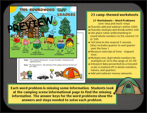3rd Grade Math Worksheets - Word Problems, Time, Elapsed Time, Addition, Subtraction, Multiplication and Division Basic Facts