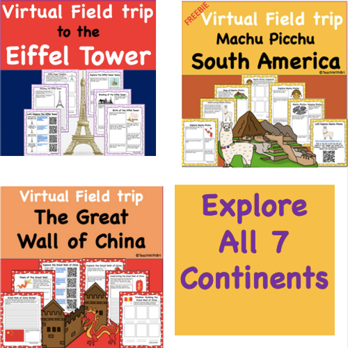 Discount Bundle- Digital Google Version-  Virtual Field Trips - Explore all 7 Continents of the World- 7 Great Trips but only pay for 5!