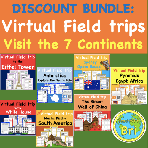 Discount Bundle-  Virtual Field Trips - Explore all 7 Continents of the World- 7 Great Trips but only pay for 5!
