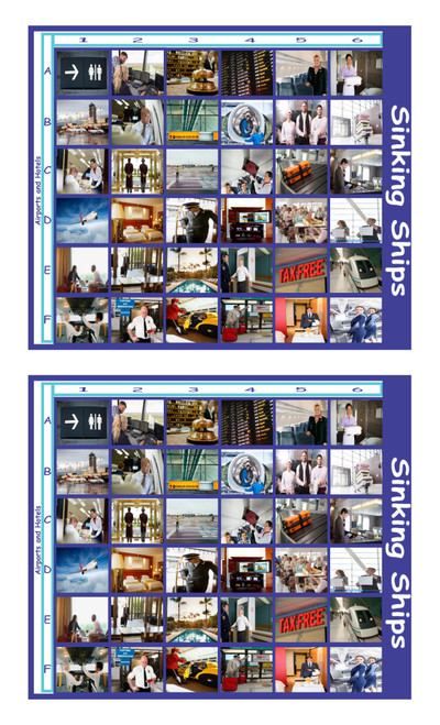 Airports and Hotels Legal Size Photo Sinking Ships Game