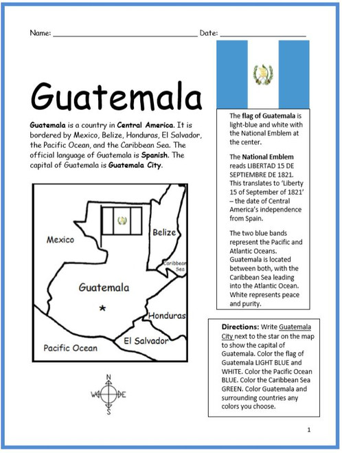 Color and Learn Geography - Guatemala