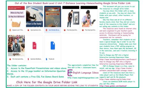 Information Question Words Distance Learning-Homeschool Bundle-Google Drive
