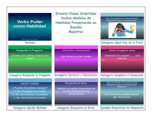 Ability Modals Spanish PowerPoint Slideshow
