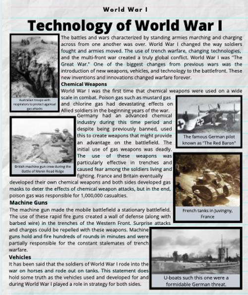 World War I Reading Unit and Worksheets