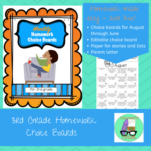 3rd Grade Homework Choice Boards for All Year