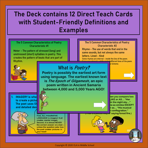 Poetry Genre: Characteristics and Most Commonly Used Figurative Language Boom! Cards (TM)