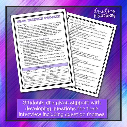 Oral History/Interview Project C3 Distance Learning FREEBIE