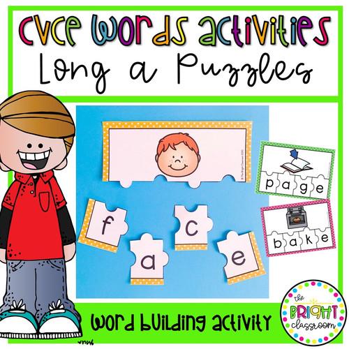 CVCE Words Activity- Long a Puzzles