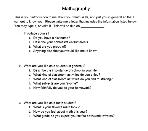 Mathography (Get to know your Math student Writing Assignment) - FREE
