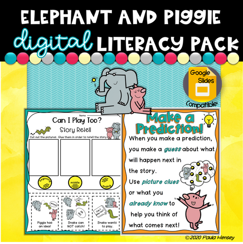 Elephant and Piggie K-2 Literacy Pack|Distance Learning|Work At Home Packet