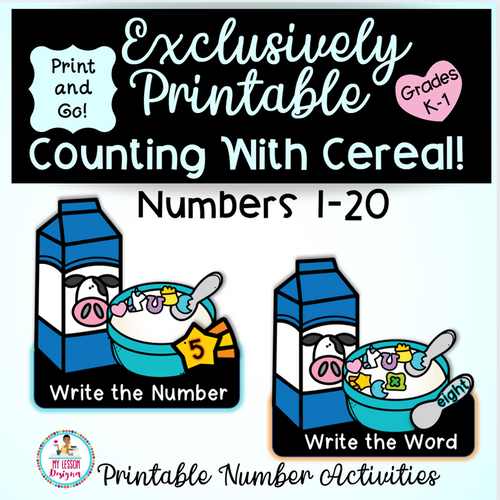 Exclusively Printable-Counting With Cereal, Numbers 1-20 Distance Learning