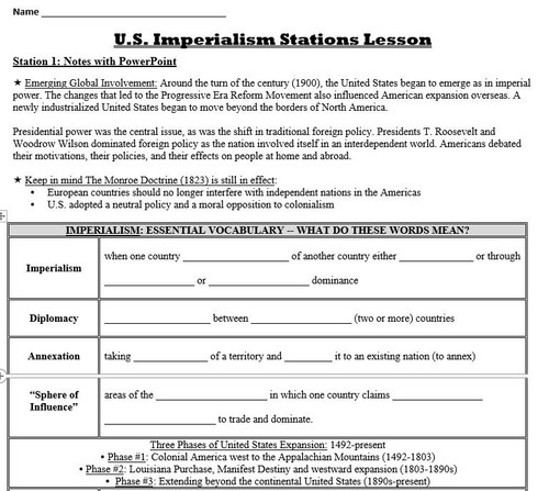 American Imperialism Stations Lesson