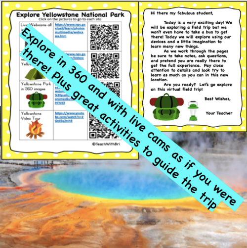 Virtual Field Trip to Yellowstone National Park Student Activities