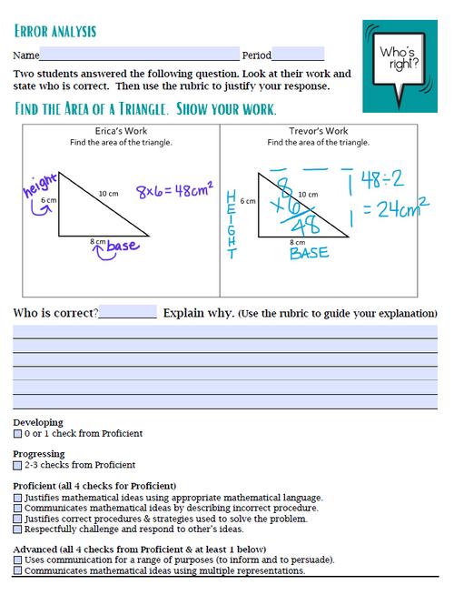 Error Analysis - Area of a Triangle