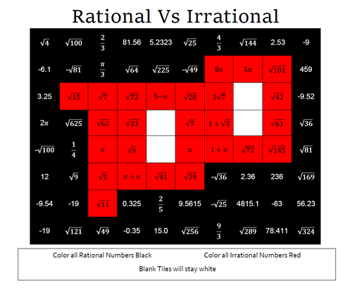 Rational vs Irrational Color By Number