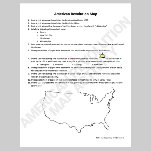 American Revolution Map Activity - FREE