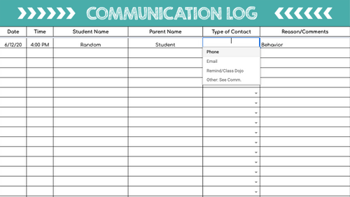 Communication Log (Digital: Google Sheets)