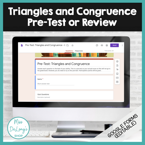 FREEBIE Triangles and Congruence Pre-Test or Review