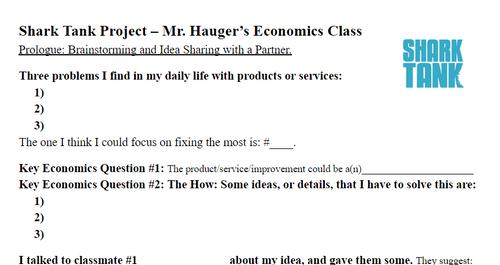 Shark Tank Brainstorming, Economics Class Project, Entrepreneurship PBL