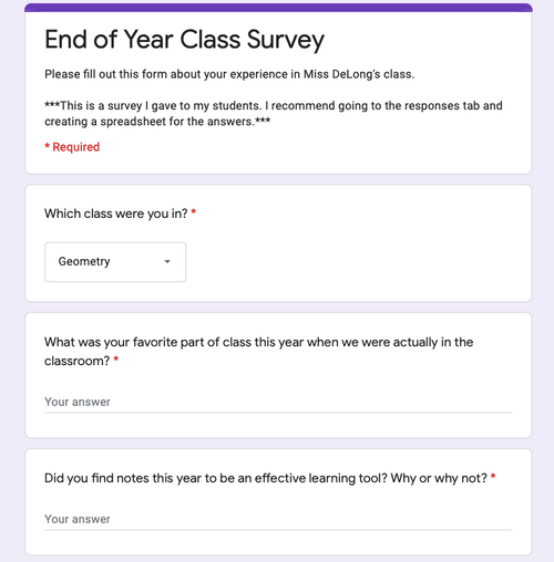 FREEBIE End of Year Class Survey