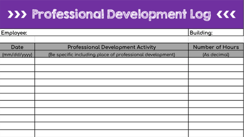 Professional Development Log: Digital (Google Sheets)