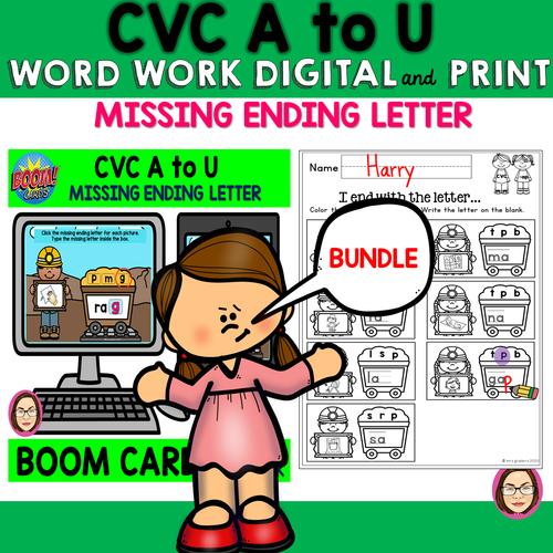 CVC A to U WORD WORK MISSING ENDING LETTER DIGITAL and PRINT BUNDLE