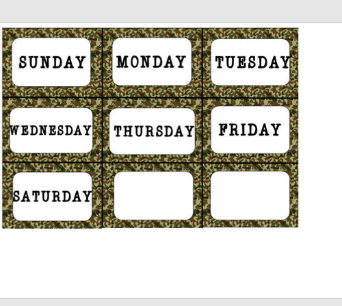Camouflage Collection:  Monthly Calendar Set