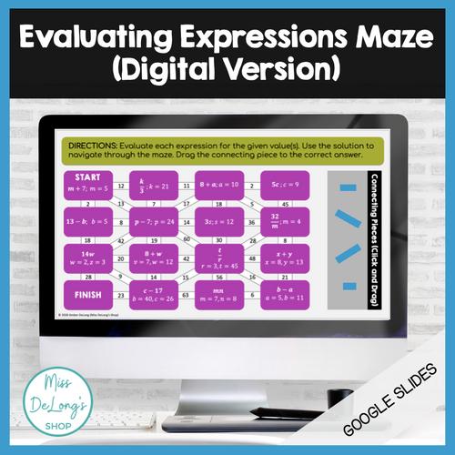 Evaluating Expressions Maze: Digital Version