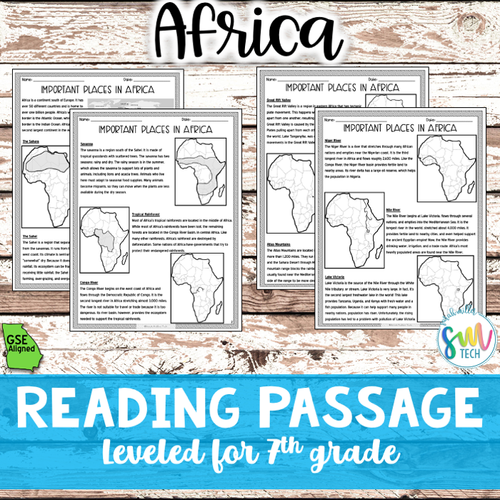 Geography in Africa Reading Activity Packet (SS7G1, SS7G1a)
