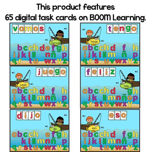 BOOM Cards Construye palabras de uso frecuente- Distance Learning