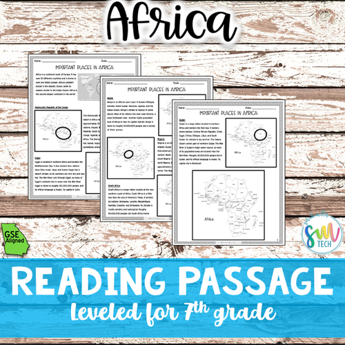 Geography in Africa Reading Activity Packet (SS7G1, SS7G1b)