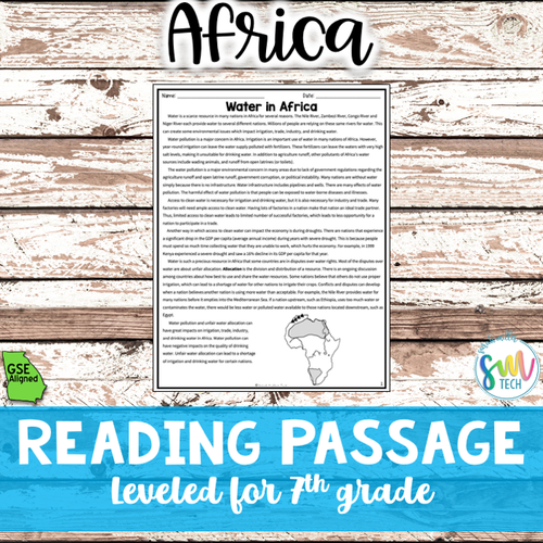 Water Pollution & Unequal Access Reading Activity Packet (SS7G2, SS7G2a)