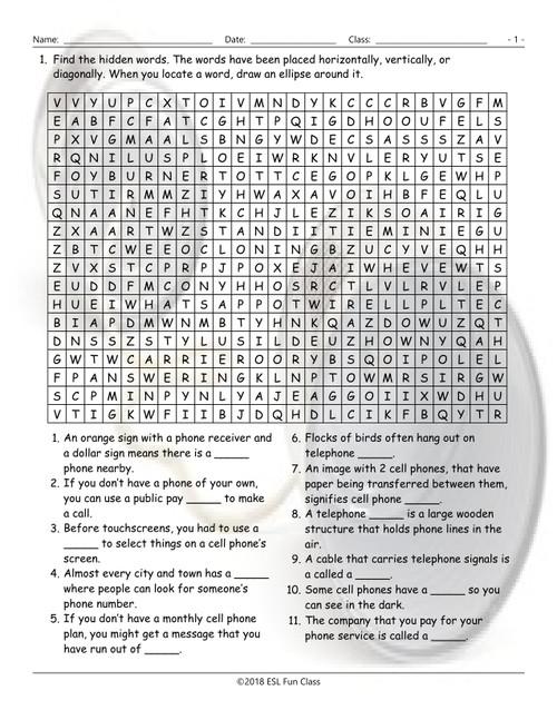 Telephones Word Word Search Worksheet