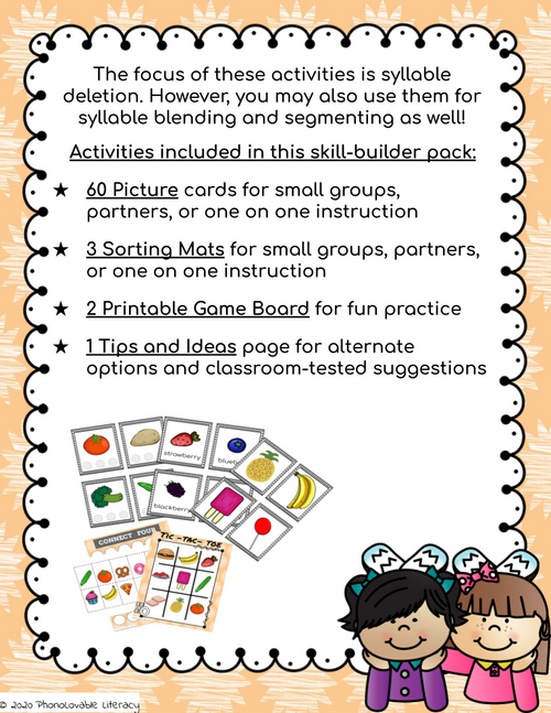 Three Syllable Words: Syllable Deletion Printable Pack for Phonological Awareness