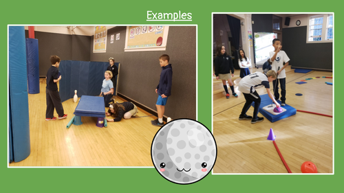 Examples of students creating their own golf hole.