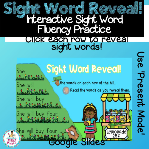 Google Slides Sight Word Reveal! Click each row to reveal sight words. Be sure to use in 'Present' Mode.