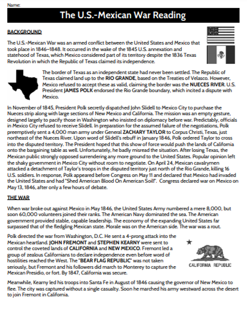 U.S.-Mexican War Reading