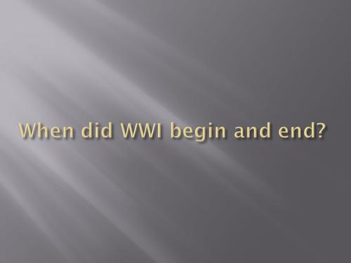 World War I EOC Review
