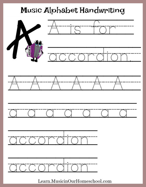 Music Alphabet Handwriting Practice Sheets