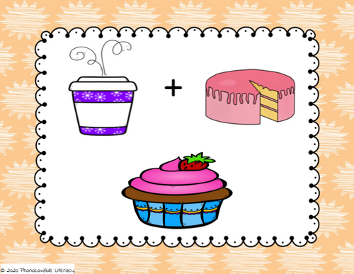 "Show students the pictures of cup and cake.  Ask them what new word is made when you blend them together.  After they say, ""cupcake"", click the arrow or spacebar and a picture of the correct answer will appear.   Continue with the remaining slides."