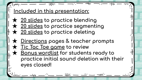Distance Learning Phonemic Awareness. Initial Sound Deletion from Blend (Vol.#1)