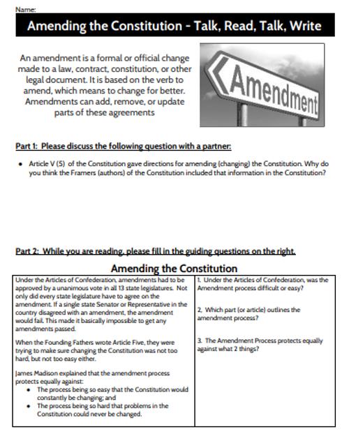 Talk, Read, Talk, Write - The Amendment Process