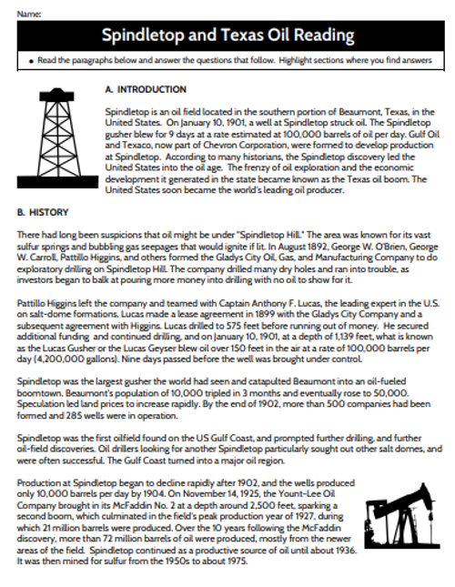 Spindletop and Texas ‌Oil Reading‌ ‌