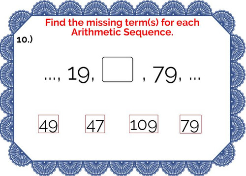 Arithmetic Sequences: Finding the missing term(s) - Digital BOOM Cards