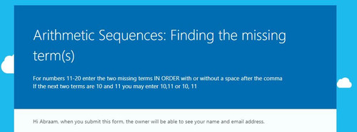 Arithmetic Sequences: Finding the missing term(s) - Microsoft OneDrive Forms Quiz